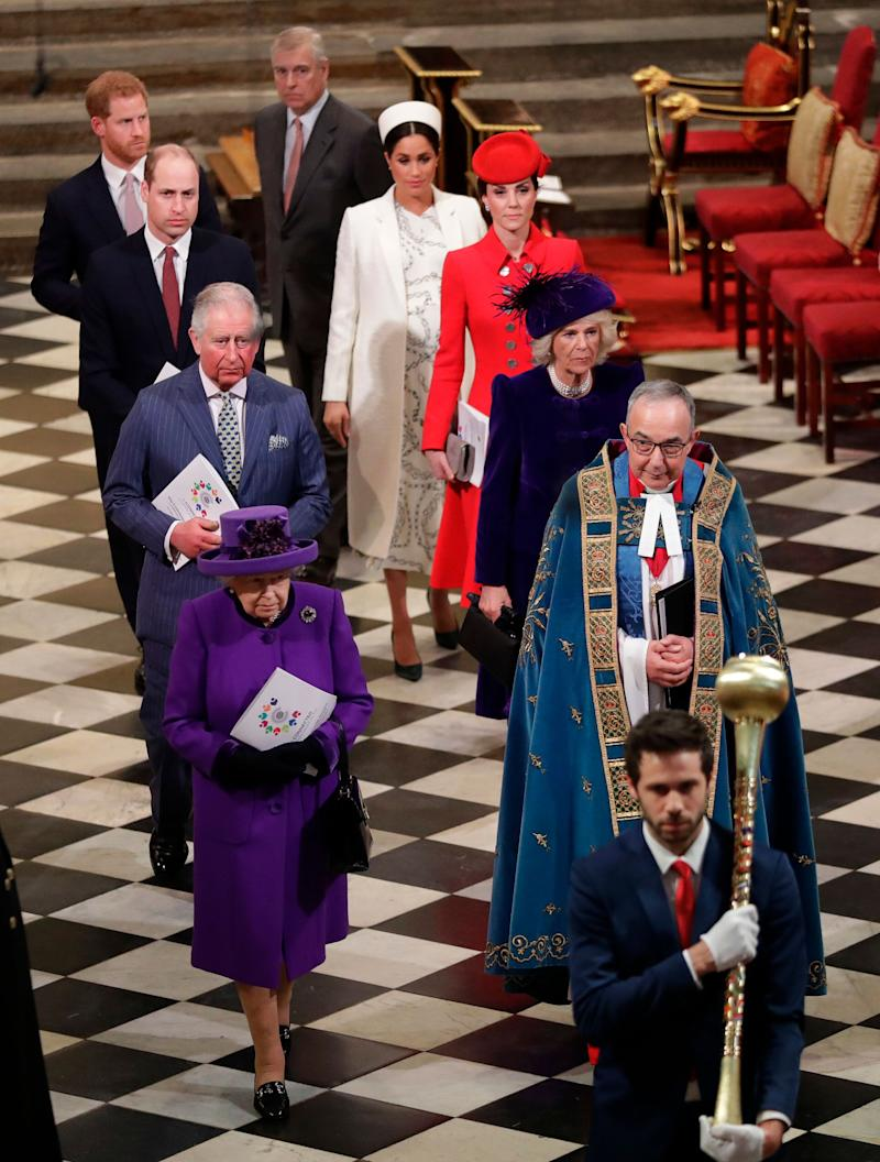 The royal family leaving theCommonwealth Day service. (Photo: KIRSTY WIGGLESWORTH via Getty Images)
