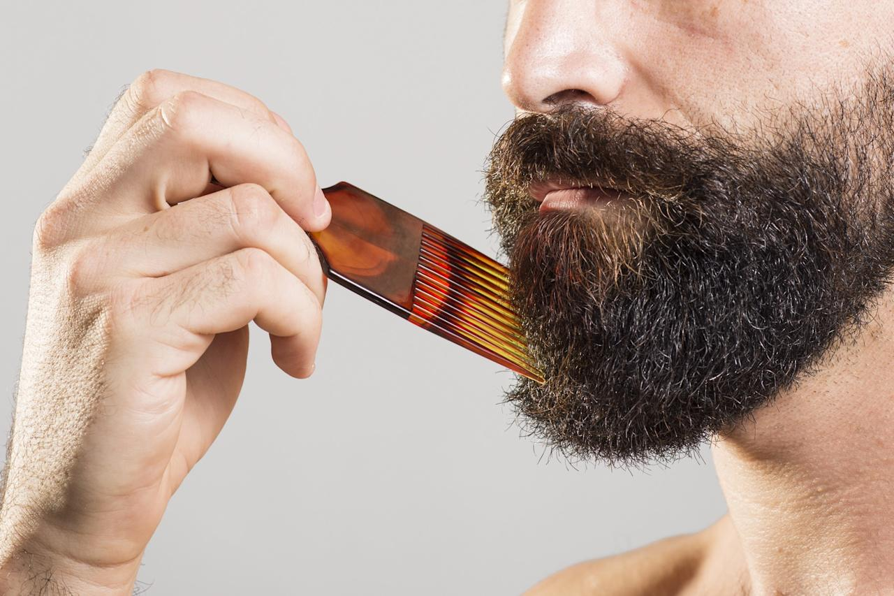 <p>Hear us out. If your facial hair tends to be unruly, give it a good brushing or use a comb to control the direction of your growth. We're not saying sit in front of the mirror and give your beard 100 strokes before bed. Just work it enough to even things out and fill in the not-so-dense areas. Go against the grain for a fuller effect. And remember to use conditioner! A lush beard is a happy beard. Avoid shampooing too often; that'll dry things out and leave your beard brittle. The hair on your face is just as important as the hair on your head, so treat it the same.</p>