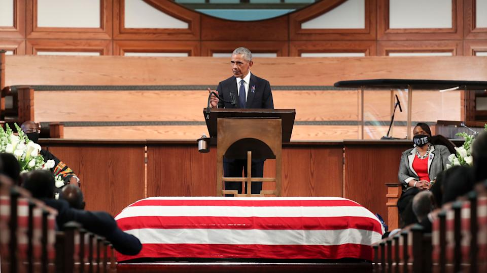 "Former President Barack Obama called the filibuster a ""Jim Crow relic"" in his eulogy at the funeral service for the late Rep. John Lewis at Ebenezer Baptist Church on July 30, 2020, in Atlanta. (Photo: Alyssa Pointer-Pool/Getty Images)"