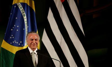 Brazil's President Michel Temer is pictured during Brazil-Sweden Business Council at Bandeirantes Palace in Sao Paulo, Brazil, April 3, 2017. REUTERS/Nacho Doce