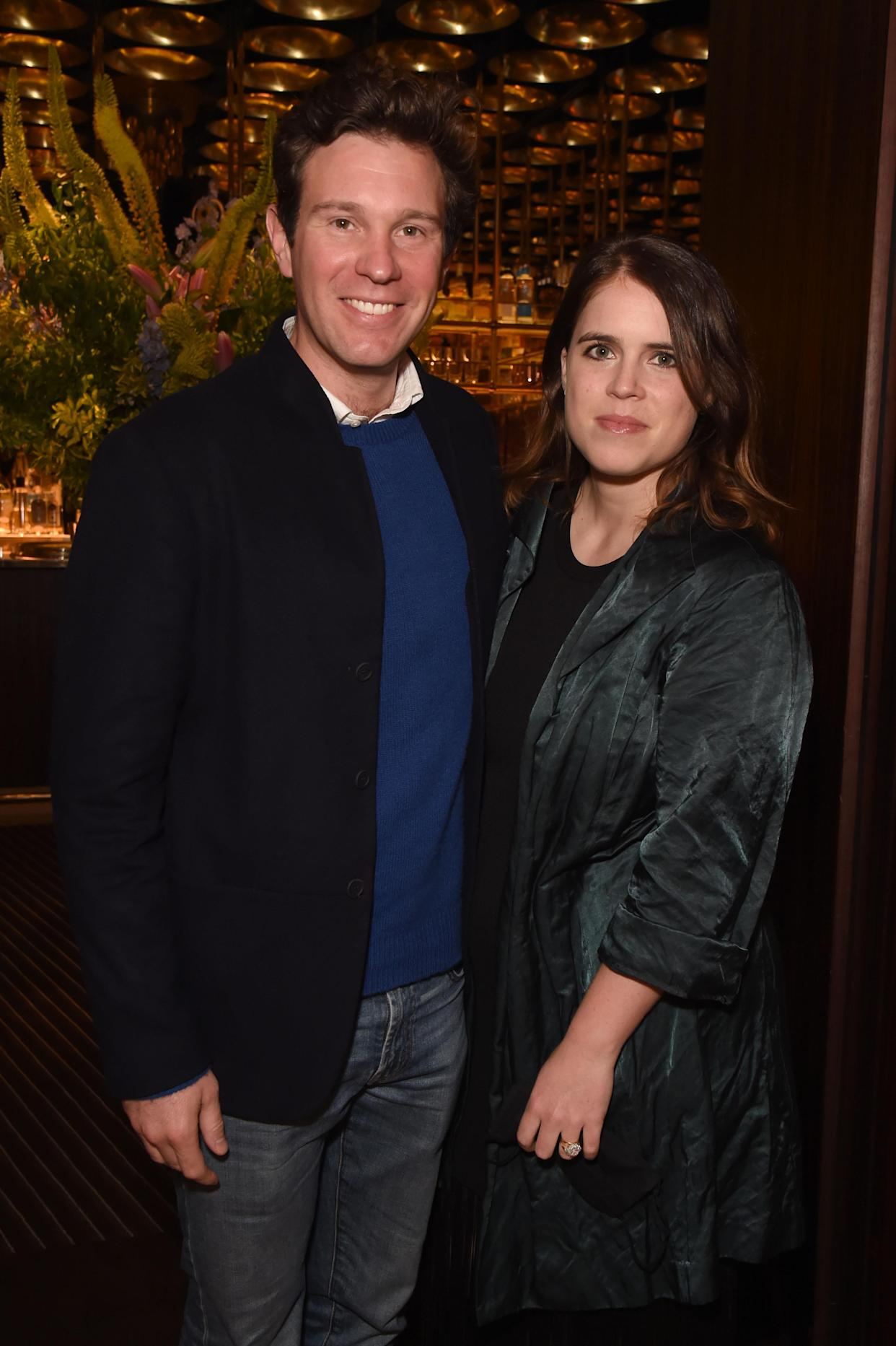 LONDON, ENGLAND - JUNE 22:  Jack Brooksbank and Princess Eugenie attend an exclusive dinner hosted by Poppy Jamie to celebrate the launch of her first book