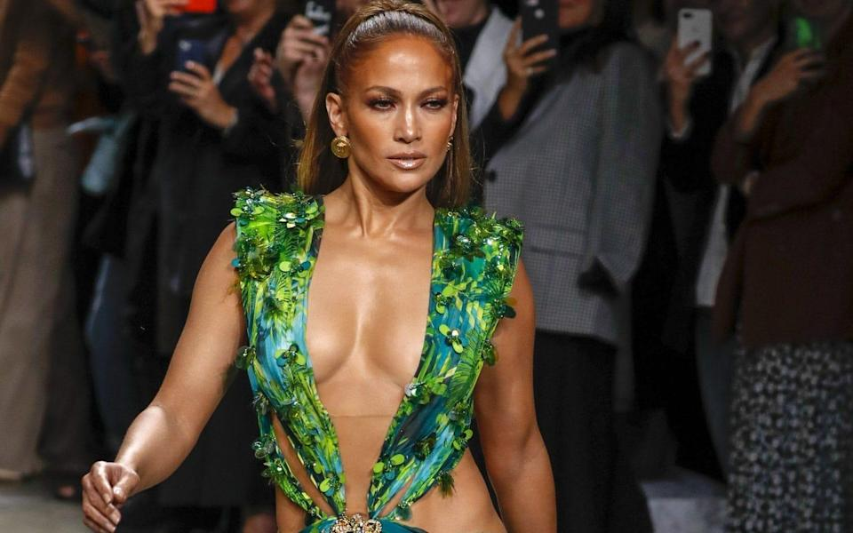 J-Lo turning back time on the catwalk at the Versace show during Milan Fashion Week, 2019 - Shutterstock