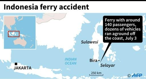 Map locating the area where a ferry ran aground off the coast of Indonesia