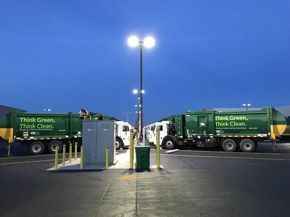 Waste Management trucks.