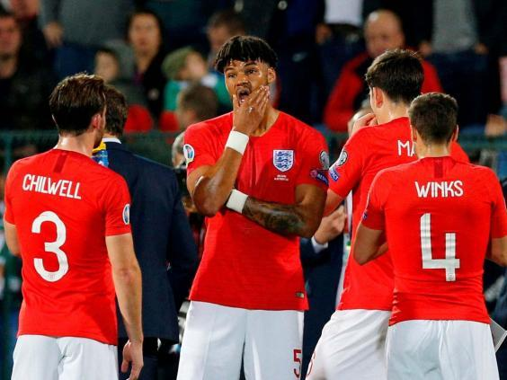 England's Tyrone Mings and teammates in Sofia (REUTERS)