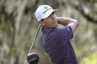 Billy Horschel watches his tee shot on the ninth hole during the final round of the Workday Championship golf tournament Sunday, Feb. 28, 2021, in Bradenton, Fla. (AP Photo/Phelan M. Ebenhack)