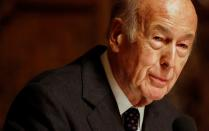 FILE PHOTO: Ex-president of France d'Estaing speaks at a lecture in Hamburg