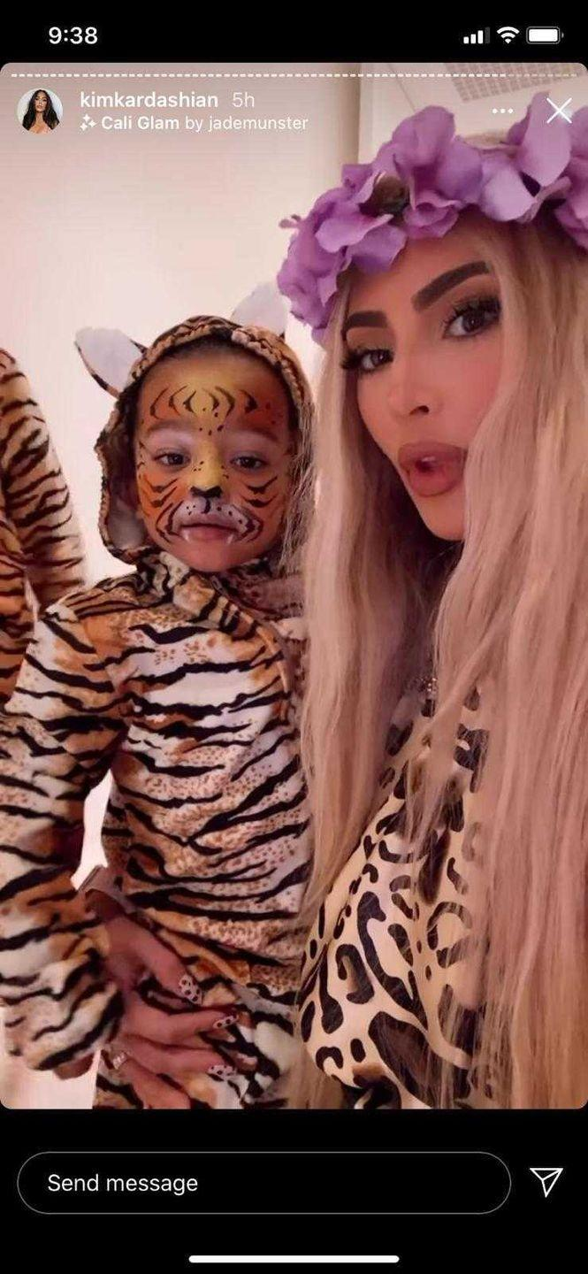 <p>Kim Kardashian opted for 2020's most notorious TV stars for her Halloween costume of choice this year. Working a tousled long blonde wig with flower crown and a leopard print shirt, Kim's Carole Baskin costume was spot on.</p>