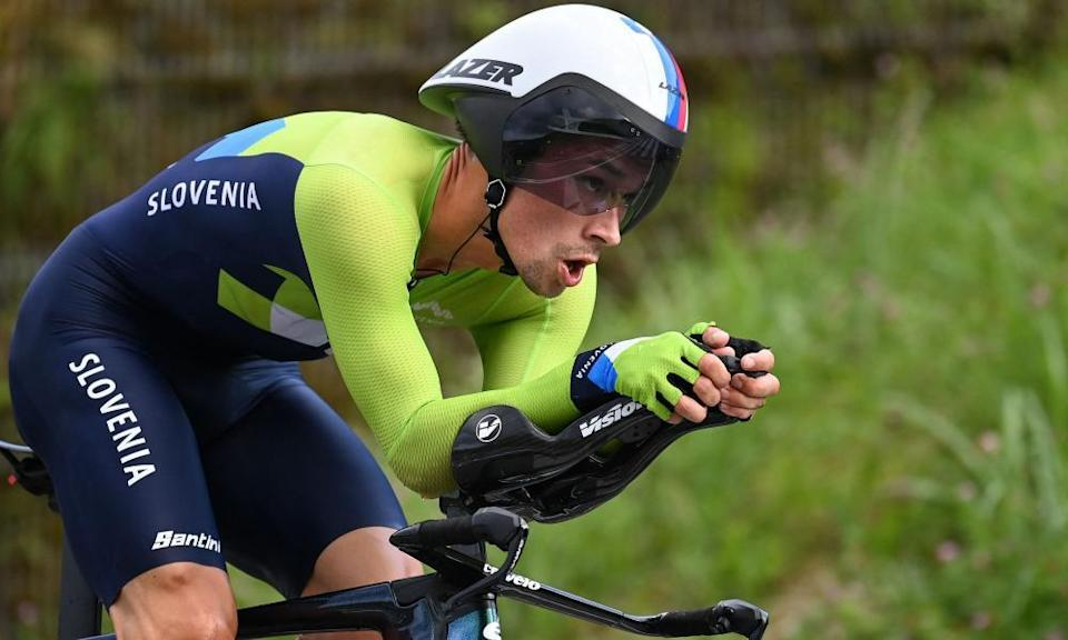 Slovenia's Primoz Roglic on his way to gold in the time trial at Fuji International Speedway