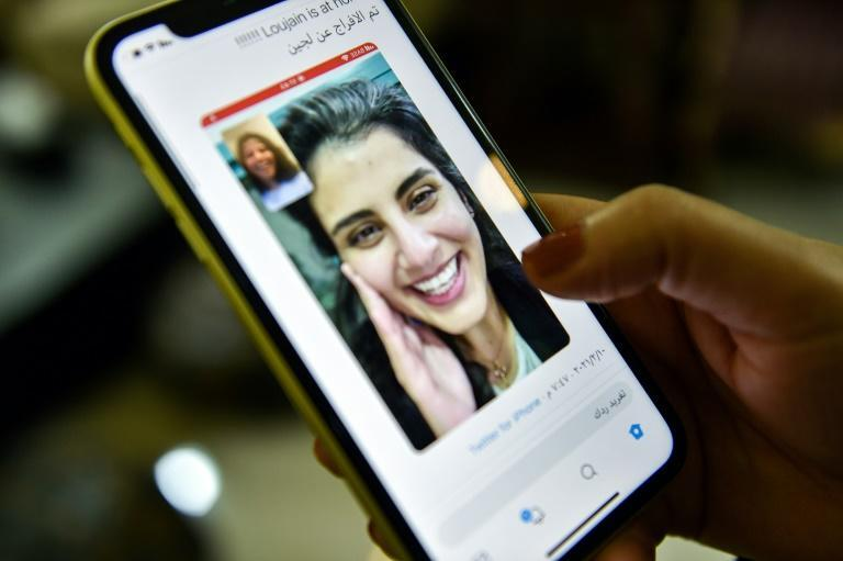 Loujain al-Hathloul was pictured in a social media post by her sister Lina after her release from detention on Wednesday