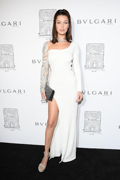 The 21-year-old model looked flawless at the Bvlgari flagshop store re-opening on Friday, where Sofia Richie, Lily Aldridge and Ciara also made regal appearances.