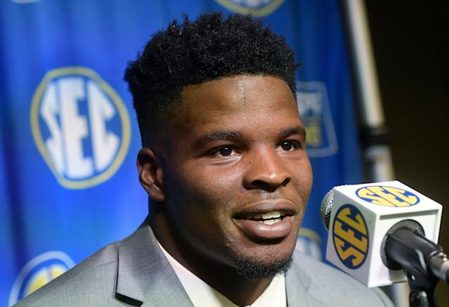 Dre Greenlaw is interviewed during the Southeastern Conference football media days at the College Football Hall of Fame in Atlanta. (AP Photo/John Amis, File)