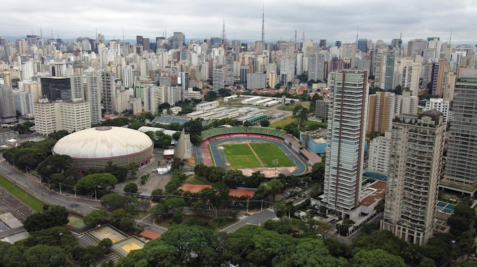 SAO PAULO, BRAZIL - DECEMBER 06: An aerial view of the Ibirapuera Sporting Complex on December 6, 2020 in Sao Paulo, Brazil. The traditional sports center had a request to be part of the heritage of the city denied, paving the way for concession to the private initiative. The governor of Sao Paulo, Joao Doria, presented a project to transform the venue into a multipurpose arena with a capacity for 20,000 people for sporting and cultural events, a shopping mall and a commercial tower attached to a hotel. (Photo by Rodrigo Paiva/Getty Images)