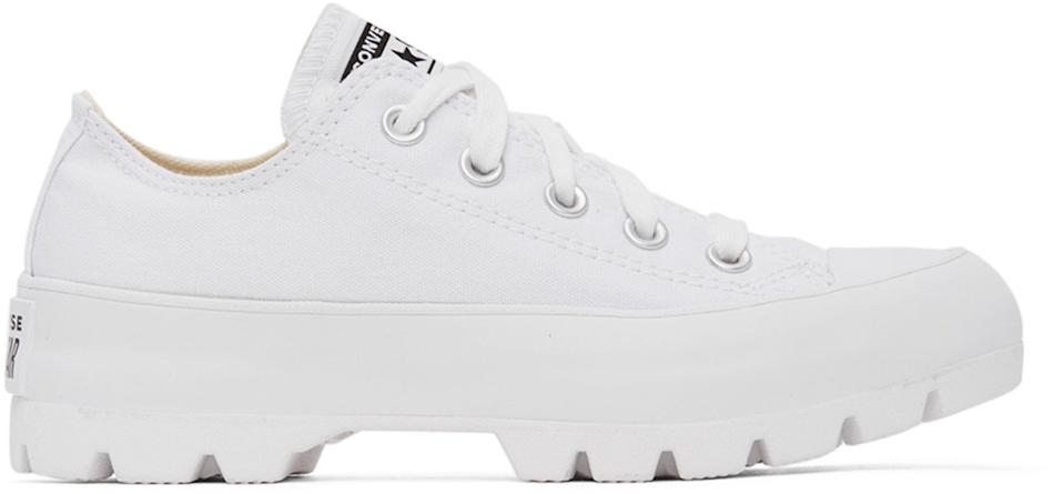 "<br><br><strong>Converse</strong> White Lugged Chuck Taylor All Star Sneakers, $, available at <a href=""https://go.skimresources.com/?id=30283X879131&url=https%3A%2F%2Fwww.ssense.com%2Fen-us%2Fwomen%2Fproduct%2Fconverse%2Fwhite-lugged-chuck-taylor-all-star-sneakers%2F5321011"" rel=""nofollow noopener"" target=""_blank"" data-ylk=""slk:SSENSE"" class=""link rapid-noclick-resp"">SSENSE</a>"
