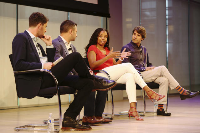L-R: Yahoo's Daniel Roberts, ESPN's Nate Ravitz, ESPN's Jemele Hill, and ESPN's Michael Shiffman at the Hashtag Sports conference in New York on June 27, 2017. (AP)