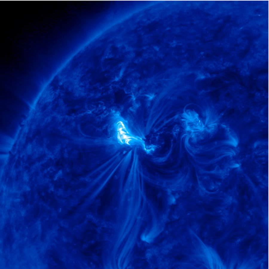 The sun unleashed two massive X-class solar flares on March 6, 2012. The flare erupted from the giant active sunspot AR1429.