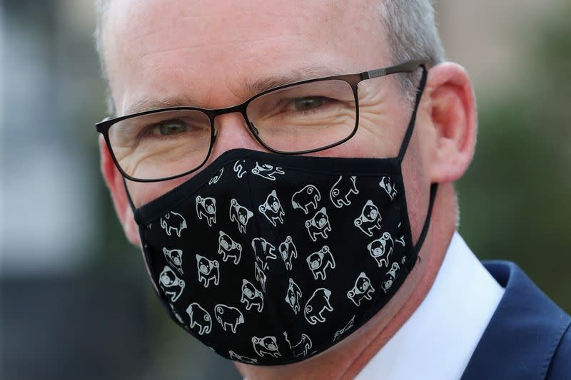 FILE PHOTO: Irish Foreign Minister Simon Coveney is seen after a European general affairs ministers council, in Brussels