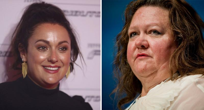 Gina Rinehart (right) has responded to Celeste Barber's tweet. Source: Getty