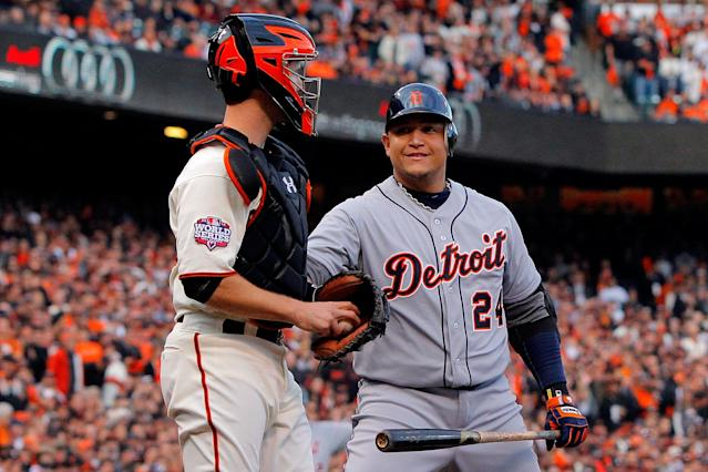 SAN FRANCISCO, CA - OCTOBER 24: Miguel Cabrera #24 of the Detroit Tigers looks at Buster Posey #28 of the San Francisco Giants in the first inning during Game One of the Major League Baseball World Series at AT&T Park on October 24, 2012 in San Francisco, California. (Photo by Doug Pensinger/Getty Images)
