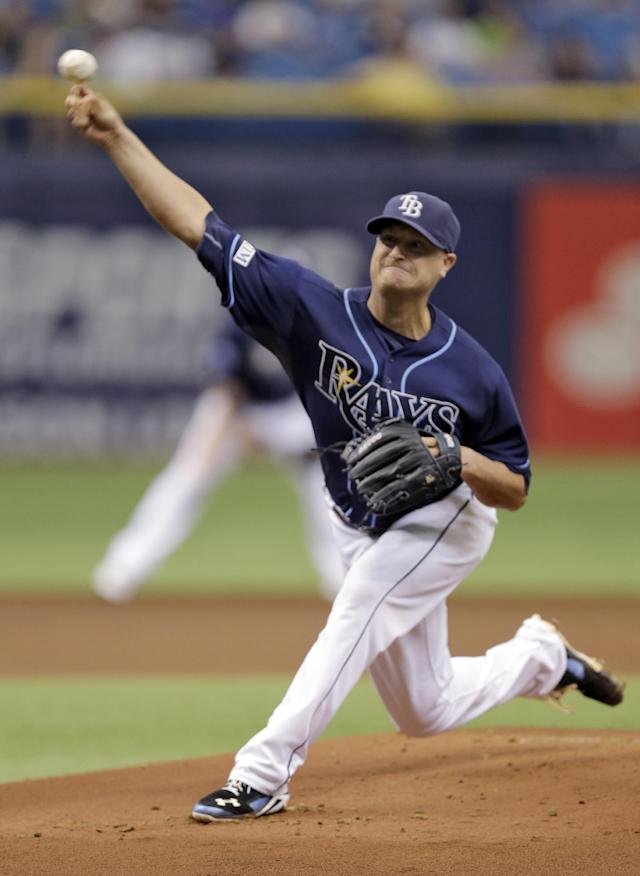 Tampa Bay Rays starting pitcher Alex Cobb delivers to the Detroit Tigers during the first inning of a baseball game Thursday, Aug. 21, 2014, in St. Petersburg, Fla. (AP Photo/Chris O'Meara)