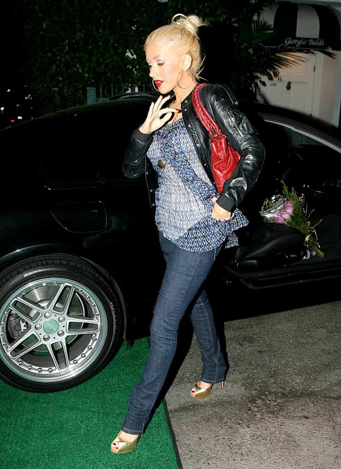 """If reports are true, Christina Aguilera may be joining the celebrity parent club in a few months. Is that a baby bump? VWR/<a href=""""http://www.x17online.com"""" target=""""new"""">X17 Online</a> - August 10, 2007"""