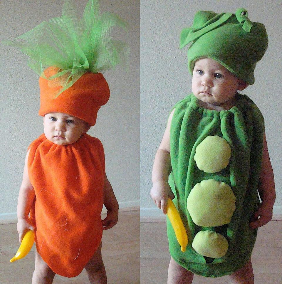 <p>Do your kids go together like peas and carrots? If so, why not dress them up in a couple of <span>veggie costumes</span> ($125)? </p>