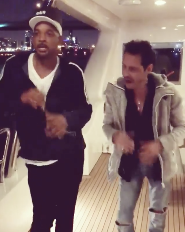 "<p>Learning from the best! ""#Bucketlist. Salsa lessons from @MarcAnthony,"" the Fresh Prince captioned a video of the duo making some moves on a yacht. ""I just realized this is my 100th post! Thank you all! Let's go get the next [100]."" (Photo: <a href=""https://www.instagram.com/p/BgwHVYnH4K2/?taken-by=willsmith"" rel=""nofollow noopener"" target=""_blank"" data-ylk=""slk:Will Smith via Instagram"" class=""link rapid-noclick-resp"">Will Smith via Instagram</a>) </p>"