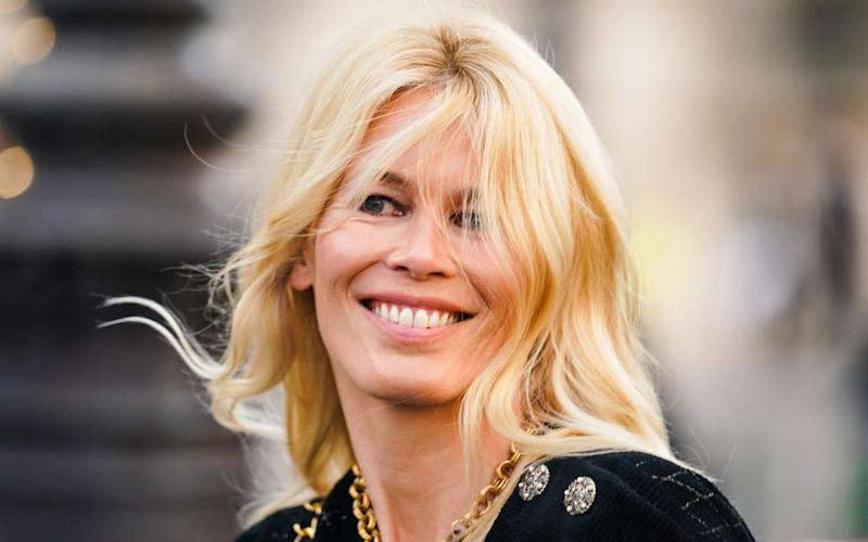 Claudia Schiffer is seen outside a tribute to Karl Lagerfeld at Grand Palais, during Paris Fashion Week - Edward Berthelot/Getty Images Europe