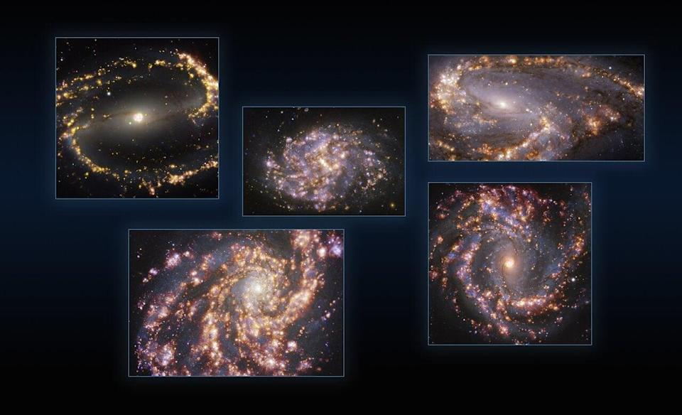 Images of nearby galaxies resemble fireworks (ESO/PHANGS/PA)