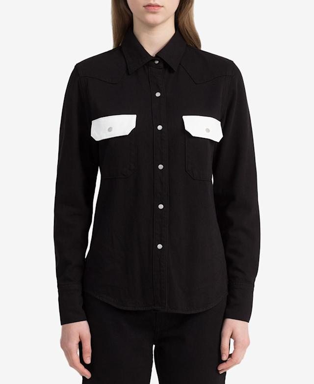 "<p>Colorblocked Western Shirt, $83 (on sale with code: VIP, valid until March 25 only, orig. $118), <a href=""https://www.macys.com/shop/product/calvin-klein-jeans-colorblocked-western-shirt?ID=5809230&RVI=PDP_7&CategoryID=255&tdp=cm_choiceId~z5809230~xcm_pos~zPos7"" rel=""nofollow noopener"" target=""_blank"" data-ylk=""slk:macys.com"" class=""link rapid-noclick-resp"">macys.com </a> </p>"