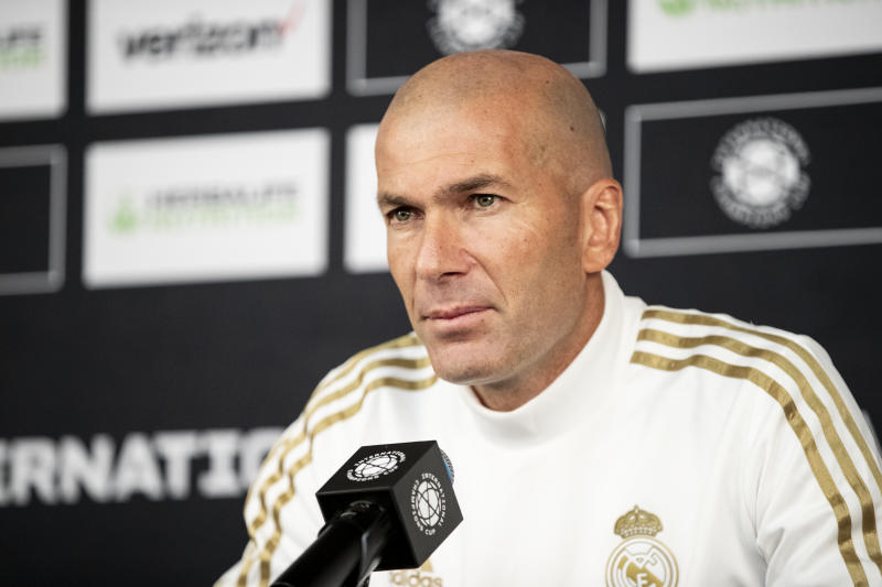 WASHINGTON, DC - JULY 22: Zinedine Zidane head coach of Real Madrid CF talks to reporters before the International Champions Cup Friendly match between Arsenal and Real Madrid. The press conference was held at Audi Field on July 22, 2019 in Washington, DC, USA. (Photo by Ira L. Black/Corbis via Getty Images)