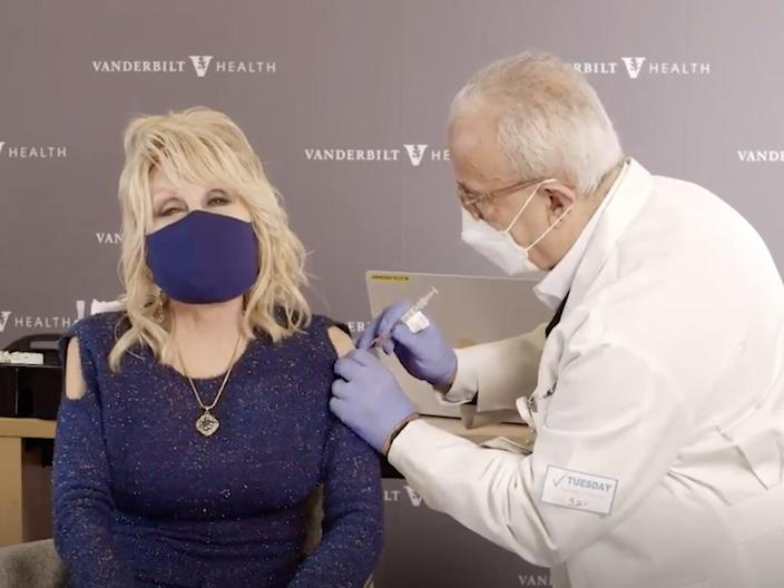 <p>Dolly Parton - who helped fund vaccine - gets Covid shot in the arm</p> (Photo by Joel Ryan/Invision/AP, File)