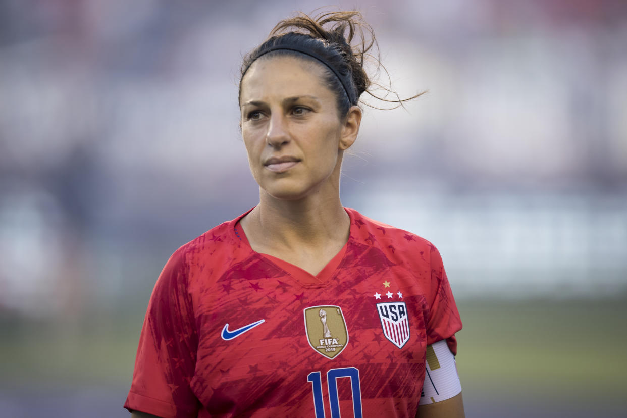 """Carli Loyd told Julie Foudy that the 2019 World Cup run represented """"rock bottom"""" for her career. (Getty)"""