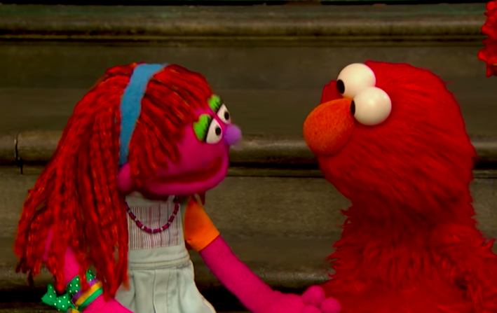 Lily and Elmo talk about her living situation. (Image: Sesame Street/YouTube)