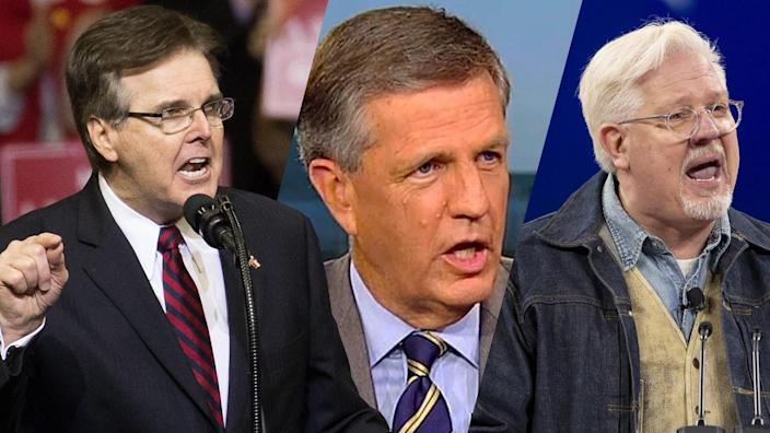 Texas Lt. Gov. Dan Patrick, Brit Hume and Glenn Beck. (Loren Elliott/Getty Images, Fox News, Stefani Reynolds/Bloomberg via Getty Images)