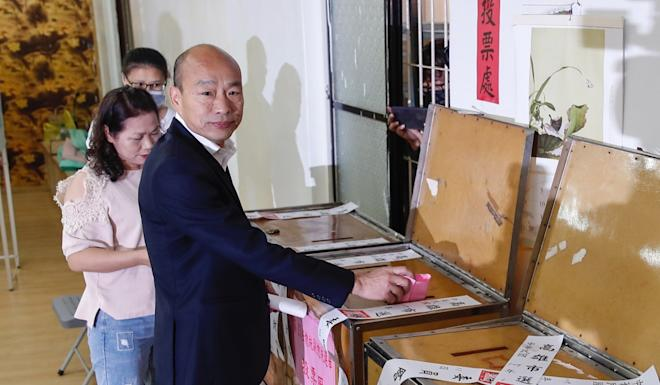 KMT presidential candidate Han Kuo-yu casts his vote in Kaohsiung on Saturday. Photo: EPA-EFE