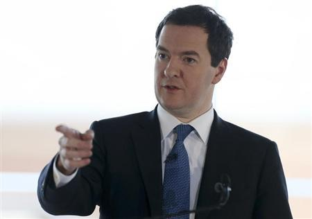 Britain's Chancellor of the Exchequer Osborne delivers a speech on the forthcoming Scottish independence referendum in Edinburgh in Scotland
