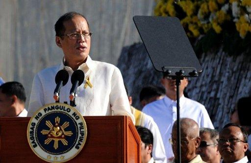 Philippine President Benigno Aquino delivers a speech in Manila in February