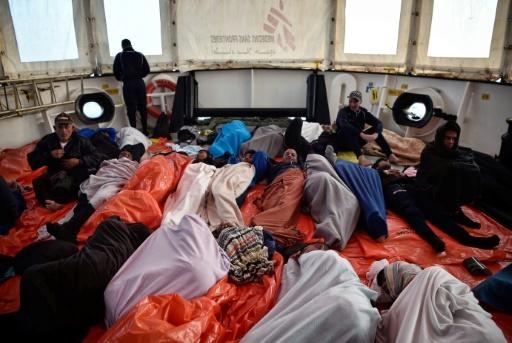 Migrants on board the Aquarius