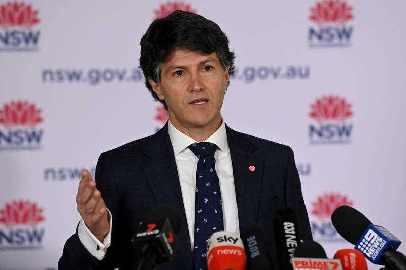 NSW Minister for Customer Service Victor Dominello speaks to the media during a Covid-19 press conference in Sydney.