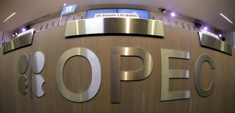A table with OPEC logo is seen during the presentation of OPEC's 2013 World Oil Outlook in Vienna