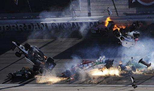 English racing driver Dan Wheldon was killed in a massive crash at the Las Vegas 300 IndyCar series finale on Sunday. Wheldon, 33, winner of the famed Indianapolis 500 in May, died from injuries he received after his car was sent airborne over another car and clipped the catch fencing during the 15-car wreck