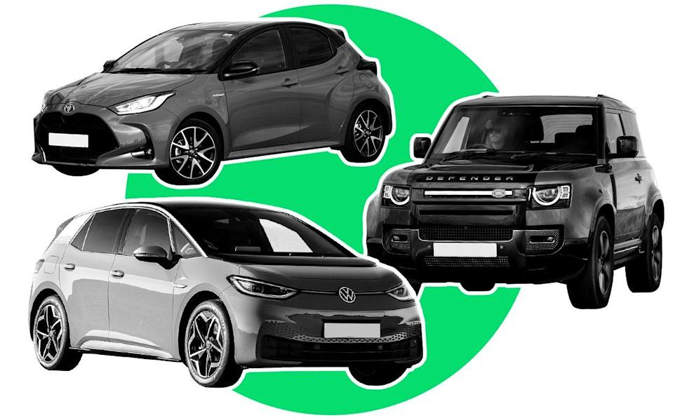 2021 Car of the Year - composite image showing Toyota Yaris, Land Rover Defender and Volkswagen ID.3