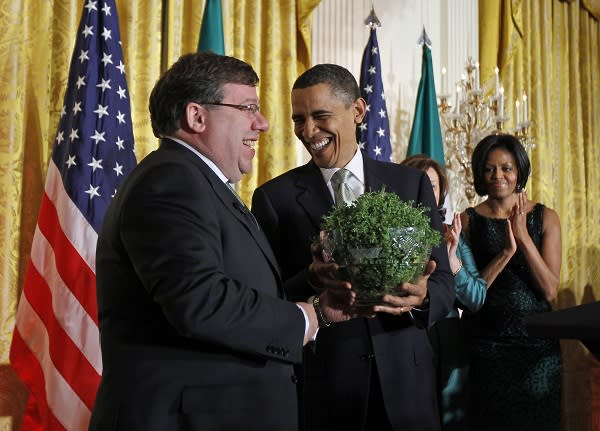 The Obamas receive a shamrock in March from Brian Cowen.