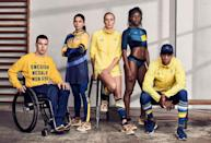 <p>Made from sustainable fabric, Sweden's bright yellow sweatshirts (which reflect the colors of its flag) are printed with the number of all-time medals won by the country. <i>(Photo: Courtesy of H&M)</i><br></p>