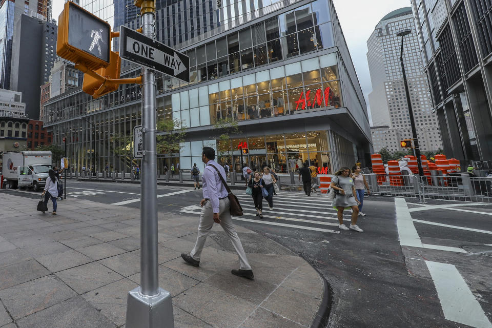 <p>People on the move across from 4 World Trade Center and its shopping centers on Church Street on Sept. 7, 2018. (Photo: Gordon Donovan/Yahoo News) </p>