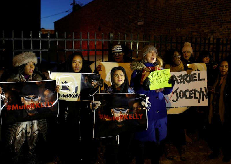Demonstrators gather to show support for survivors of sexual abuse following a television documentary series on singer R. Kelly