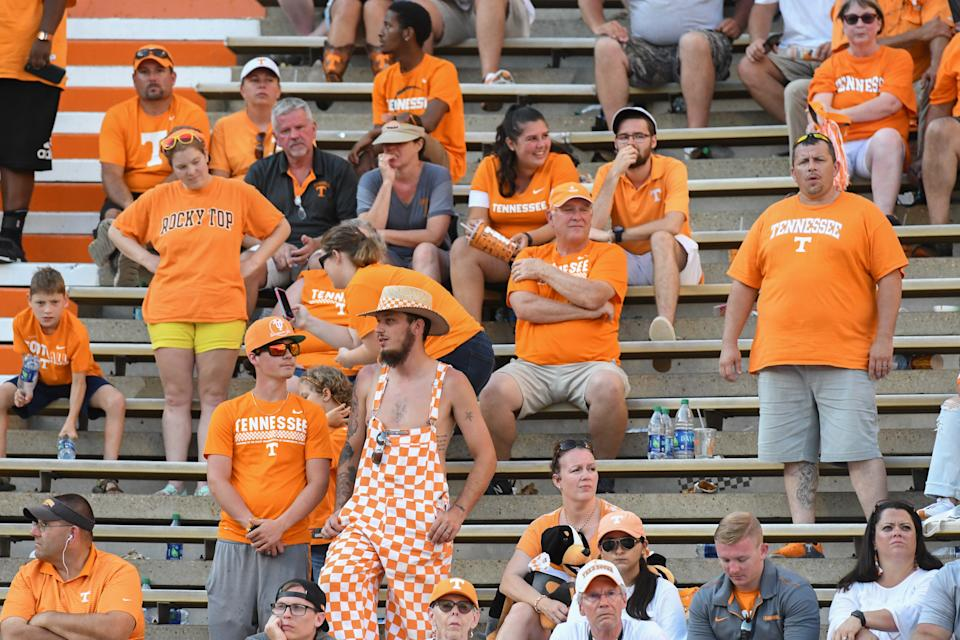 Tennessee Volunteers fans react during the second half of the game against the Georgia State Panthers at Neyland Stadium. Georgia State won 38 to 30. (USAT)
