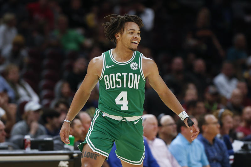 Boston Celtics' Carsen Edwards (4) reacts after making a three point shot against the Cleveland Cavaliers in the second half of an NBA preseason basketball game, Tuesday, Oct. 15, 2019, in Cleveland. The Celtics defeated the Cavaliers 118-95. (AP Photo/Ron Schwane)