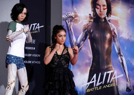 "FILE PHOTO: Cast member Salazar poses at the premiere for the movie ""Alita: Battle Angel"" in Los Angeles"